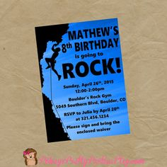 Rock Wall Climbing Birthday Party by PokeysPrettyParties on Etsy