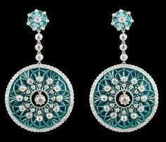 Platinum Diamond and Green Enamel Earrings