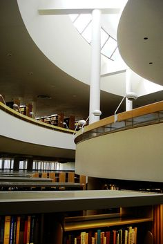 Alvar Aalto Library in Mt. Angel, Oregon.  Stunning manipulation of light. Must see in person to truly appreciate his mastery of shape and use.
