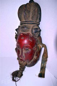 Red-African-Baule-Tribe-Wood-Mask-Tribal-Art-Primitives-Carving
