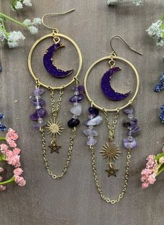 Crescent Moon Amethyst Earrings Gothic Earrings, Moon Earrings, Amethyst Earrings, Amethyst Gemstone, Gemstone Beads, Wiccan Jewelry, Moon Jewelry, Beaded Jewelry, Jewelry Accessories