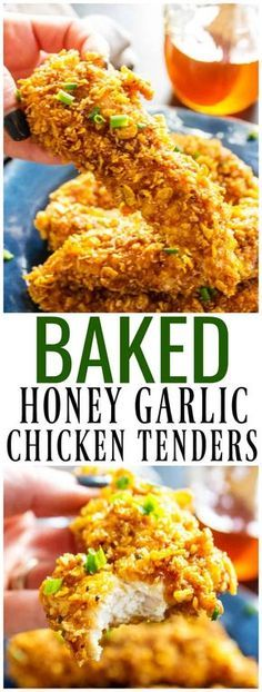 Ready in 30 minutes, baked to perfection and dipped in a simple honey garlic sauce these BAKED HONEY GARLIC CHICKEN TENDERS are out of this world. #chickenrecipes #chickentenders #baked #honey #honeygarlic #sauce #30minutemeal