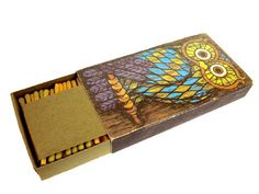 1970 Owl & Mushrooms Large BIG Box of Matches Matchbox by CollectionSelection   SOLD