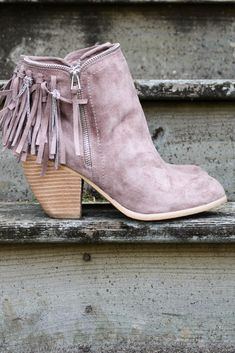 Flippin' Fringe Taupe Stacked Ankle Boot With Chain & Suede Fringe Tassels