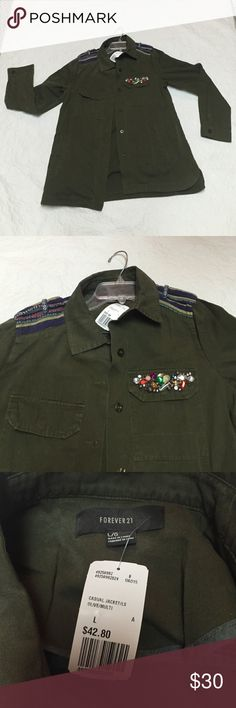 Forever 21 Military Jacket 100% cotton jacket with bling and PERFECT for fall!! Forever 21 Jackets & Coats