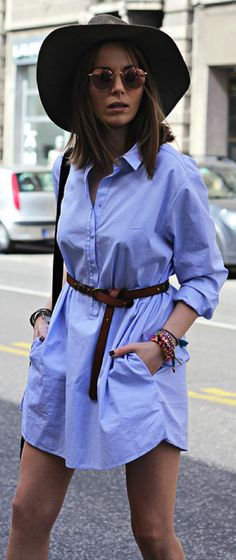old shirt + Vanja Milicevic + A shirt is an ideal alternative to a dress + bohemian vibe + belt for a more fitted look + screams summer!   Shirt: Massimo Dutti, Belt: Pull&Bear