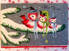 +~~ Vintage 1940s Christmas Card with Family of 3 Birds in Pine Tree ~~+