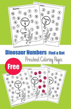 Every page contains a dinosaur holding a sign and asks the toddlers to paint a number. Your kid can paint the dot by dot marker or by crayons or any p. Dinosaur Theme Preschool, Dinosaur Activities, Free Preschool, Preschool Printables, Preschool Coloring Pages, Painting Tools, Business For Kids, T Rex, Coloring Sheets