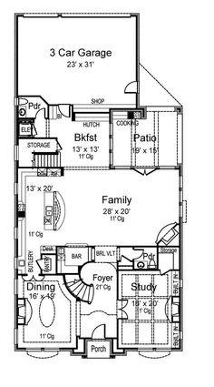 Chateau Viola - Texas Narrow - first Floor Plan