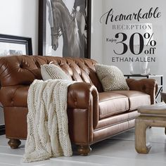Redecorate your living space this month with Ethan Allen's handcrafted sofas and seats.