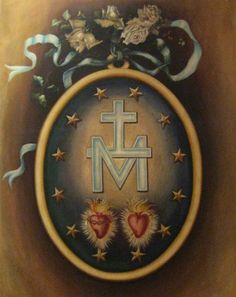 """theraccolta: """"The obverse of the Miraculous Medal depicting a monogram of the Holy Name of Mary and the Sacred Hearts of Jesus and Mary, surrounded by twelve stars which represent the Twelve Apostles who in turn represent the whole Church."""""""