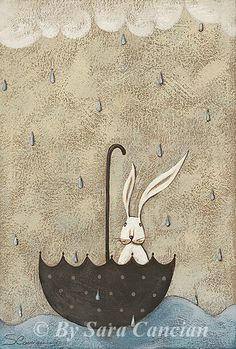 Illustration Print Art Rabbit - Float in the sea - Open edition - Original Acrylic Painting Sara Cancian by Ilgrandealbero