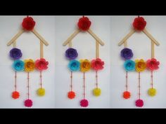 DIY: Ice cream Stick Crafts!!! How to Make Wall Hanging With Ice cream Stick /Popsicle Stick!!! - YouTube