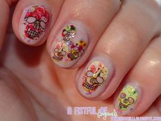 Cute skull face water decals! http://www.ladyqueen.com/1-sheet-bride-flower-ghost-skull-water-transfer-decals-nail-art-water-decals-na0462.html