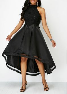 Lace Panel Sleeveless Black High Low Dress | Rosewe.com - USD $34.90