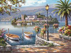 Летняя пристань, художник Сунг Ким, картины раскраски по №, размер 40х50см.