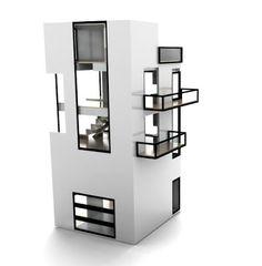 New modern dollhouse: The Bennett House Due In October Minimal House Design, Toy House, Modern Mansion, Modern Dollhouse, Little Houses, Mini Houses, Miniature Houses, Modern Contemporary, Locker Storage