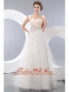 Beautiful White A-line Straps Prom / Evening Dress Tulle Beading Floor-length- $166.59  www.fashionos.com  zipper up back prom dress | 2013 popular prom dress for formal evening | beaded floor length prom dress | high end low price | perfect evening dress | online store sell prom dress | cheap prom dress around 150 | free shipping | 2015 prom dress | professional societies |