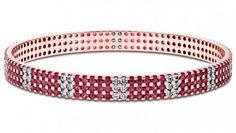 Traditions Diamond (1.73 ct) and Ruby (5.68 ct) bangle, 18K Rose Gold (20.61 gms total weight)