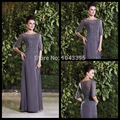 Find More Mother of the Bride Dresses Information about Gorgeous Crew Half Sleeve Silver Chiffon Women's party Gowns For Wedding Lace Long Mother Of The Bride Dresses With Beads,High Quality gown hair,China gown picture Suppliers, Cheap gown set from Forever's Bridal Fashion Store on Aliexpress.com