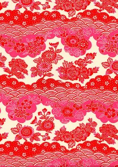 Pink Red Floral Japanese Yuzen Chiyogami Washi by mosaicmouse, $2.00