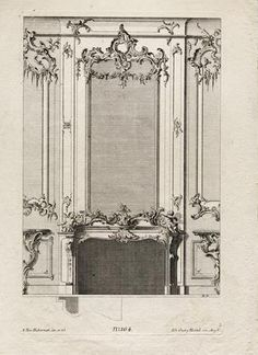 Rocaille ornament and Rococo style François-Xavier Habermann, Project of fireplace and overmantel, Louvre Museum, Paris. Vintage Architecture, Rococo Style, Architectural Antiques, Baroque Fashion, Art Decor, Home Decor, Oversized Mirror, Classic Style, Furniture Design
