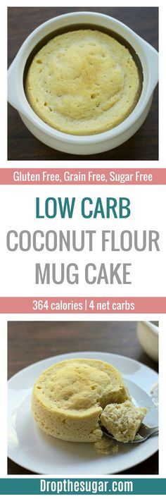 "Low Carb Coconut Flour Mug Cake an easy low carb mug cake recipe that is also gluten free and flourless. This ""muffin in a minute"" is easily versatile so you can make a chocolate mug cake, a vanilla make cake, or create your own flavor! Desserts Keto, Sugar Free Desserts, Sugar Free Recipes, Low Carb Recipes, Dessert Recipes, Easy Keto Dessert, Diet Recipes, Healthy Recipes, Coconut Flour Mug Cake"