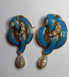 19thc Enamel, Pearl, Gold Brooches