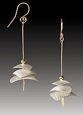 Pagoda Drops by Carolyn Zakarija (Gold & Silver Earrings)