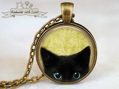 Ketten lang - MIAU Katzen Medaillon Kette im Art Deco Vintage - ein Designerstück von Mont_Klamott bei DaWanda