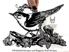 Commercial & Personal Use - Woodland Nuthatch Bird and Ivy Leaves Paper Cutting Template Papercut Cut Wildchild Designs Nature Leaves