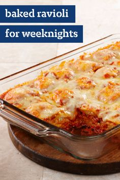 Baked Ravioli for Weeknights – Combine layers of frozen ravioli pasta with pasta sauce for this Baked Ravioli for Weeknights. This ravioli bake recipe is easy to assemble on even the busiest of weeknights!
