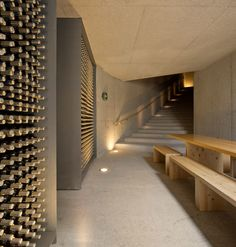 Menos é Mais Arquitectos, Fernando Guerra / FG+SG · Quinta do Vallado Winery Contemporary Architecture, Interior Architecture, Interior Design, Design Hotel, Restaurant Design, Spa Design, Caves, Modern Landscape Lighting, Bar A Vin