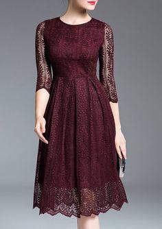 Dresses For Women - Shop Designer Dresses Online Fashion Sale Dress Skirt, Lace Dress, Dress Up, Lace Burgundy Dress, Deep Burgundy, Burgundy Color, Dress Outfits, Fashion Dresses, Batik Dress