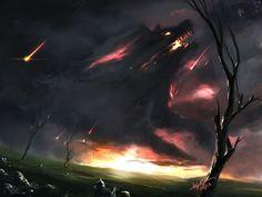 monster creature fire dark demon wallpaper background