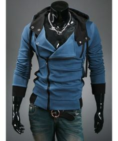 I found 'Blue Korean Men Slim Fitting Fashion Hoodie Cotton Blends Coat M/L/XL/XXL 1788-W20-40bl' on Wish, check it out!