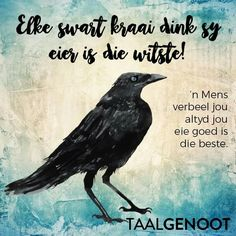 Elke swart kraai dink sy eier is die witste Wise Quotes, Qoutes, Afrikaans Language, Afrikaanse Quotes, First Language, Idioms, Beautiful Words, Laugh Out Loud, Poetry