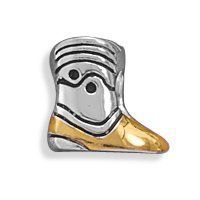 Sterling Silver Two Tone Cowboy Boot Story Bead Charm.