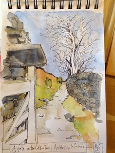 Another Lakes sketch of a tree/wall/path. Thus is along the Coffin Trail twixt Ambleside & Grasmere Watercolor Journal, Pen And Watercolor, Watercolor Landscape, Watercolor Paintings, Watercolors, Sketchbook Inspiration, Art Sketchbook, Fence Art, Yard Fencing