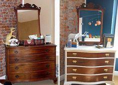 Two tone dresser makeover Diy Dresser, Redo Furniture, Painted Furniture, Home Furniture, Dresser Makeover, Furniture Makeover Diy, Refinishing Furniture, Furniture Making, Furniture Rehab