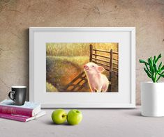 Happy Pig Watercolour Art Print. Nursery print, Watercolor Painting of Pig, Animals print.