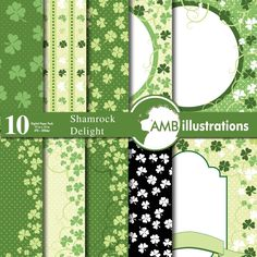 80%OFF Irish papers St Patrick's Day papers Shamrock scrapbook digital download commercial use AMB-442