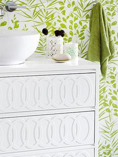 Foam overlays are an easy and inexpensive way to add texture to furniture. More DIY projects: http://www.bhg.com/decorating/do-it-yourself/accents/bathroom-and-kitchen-projects/?socsrc=bhgpin051613foamoverlays=12