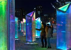 Prismatica is an astonishing public art installation by Canadian architecture studio RAW. The installation includes 50 prisms made from panels laminated with a dichroic film – this allows the panels to transmit and reflect every color in the visible spectrum.