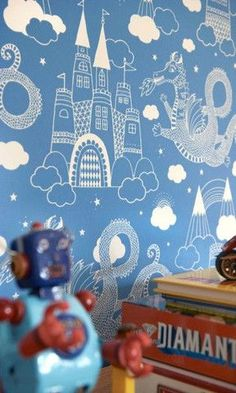 Majvillan Kids Wallpaper: Dragon Sky by Majvillan | JUST KIDS WALLPAPER™️ #kidsrooms #kidswallpaper