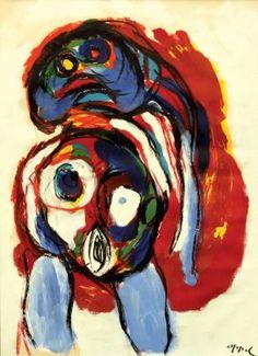 Framed gouache on paper, ''Blue Nude,'' 1965, by Karel Appel (Dutch, 1921-2006)
