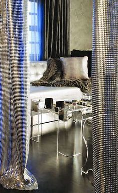 When trying to create a one-of-a-kind luxury design, when you need the type of material to make a splash, the metal mesh from Whiting & Davis is the My Living Room, Living Spaces, Casa Magnolia, Metal Curtain, Curtain Panels, Metal Mesh, Interior Exterior, Interior Design Inspiration, Decoration