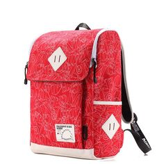Korean Preppy Style Square Canvas Backpacks Panelled for Girls in Red