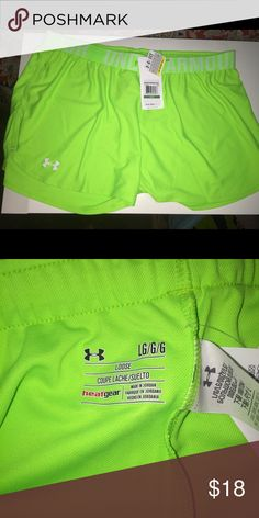 🆕 Under Armour neon shorts NWT NWT Under Armour lime green shorts Under Armour Shorts
