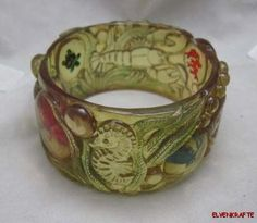 Carved & Reverse Carved AJ Bakelite Sealife Bracelet Sea Creatures Ocean Bangle